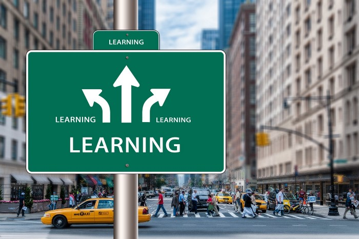 "The word ""learning"" on a street sign in the foreground with arrows pointing in several directions. The background is a busy metropolitan street."