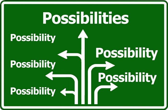"Multiple arrows all pointing to the word ""Possibilities"""